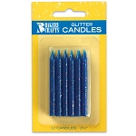 Blue Glitter Candles 1 Dozen