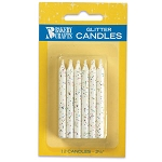 White Glitter Candles 1 Dozen