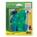 "Cookie Monster Number ""4"" Candle"