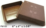 "6"" x 6"" x 1-3/8"" Brown Square Baking Mold- 4"