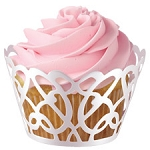 White Swirls Cupcake Wrap(18 Count)