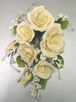 Assorted Garden Rose Spray Ivory