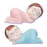Pink and Blue Sleeping Babies 2 pieces