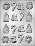 CHRISTMAS TREE/BELLS/WREATH/CANES CHOCOLATE MOLD