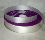 White Floral Satin Ribbon 100 yds.