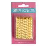 Yellow Candy Stripe Candle 2 Dozen