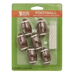 Football Candle Holders and Candles 6 Pk.
