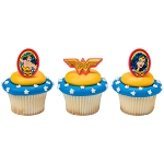 Wonder Woman™ Amazing Amazon Cupcake Rings- 12