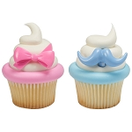 Bow and Mustache Cupcake Rings- 12