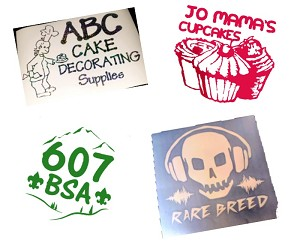 A few samples of Custom Decals for our customers